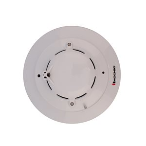 Photoelectric Smoke and Heat Detector Head and Trim Ring, 8-35VDC Operation, 2-Wire (White)